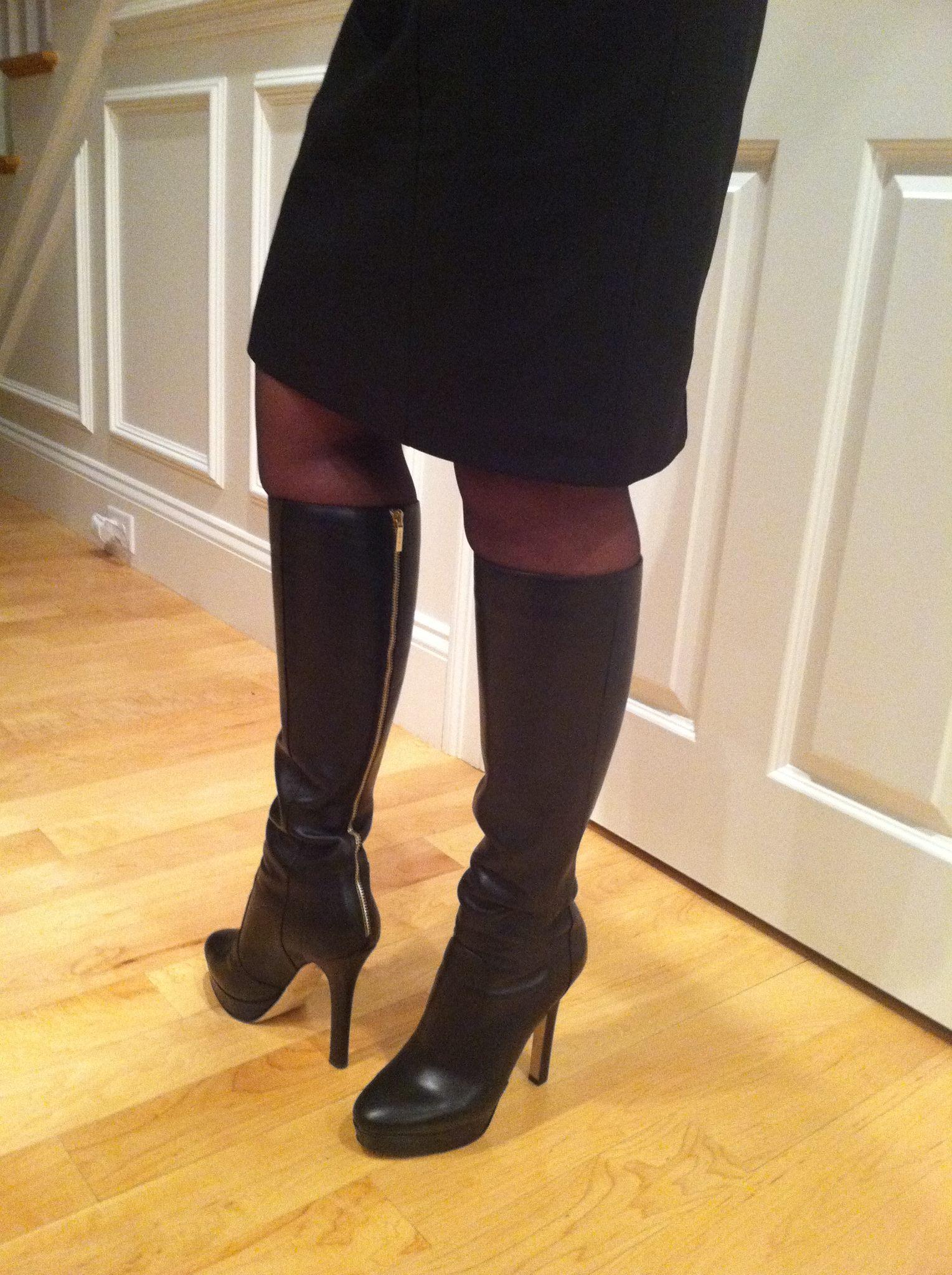image My jimmy choo high heels amp nylon covered feet upskirt