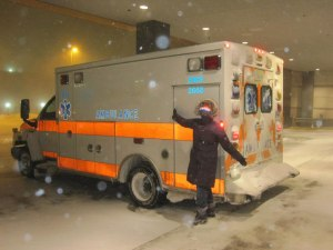 Me in the trauma bay during Storm Nemo, February 2013.
